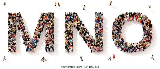 Eine große und vielfältige Gruppe von Menschen, die von oben gesehen wurden, versammelte sich in Form der MNO-Buchstaben, 3D-Abbildung