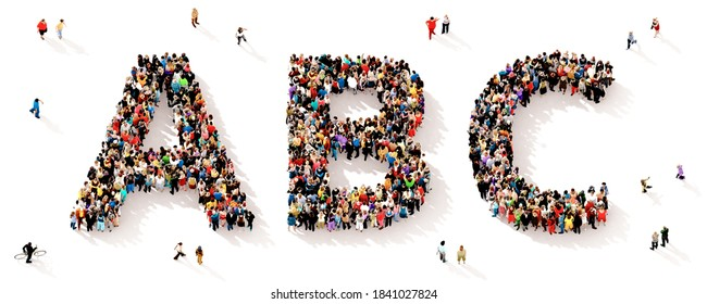 Eine große und vielfältige Gruppe von Menschen, die von oben gesehen wurden, versammelte sich in Form der ABC-Buchstaben, 3D-Abbildung
