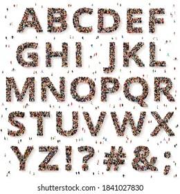 Eine große und vielfältige Gruppe von Menschen, die von oben gesehen wurden, versammelt in Form von Buchstaben und Satzzeichen, 3D-Abbildung
