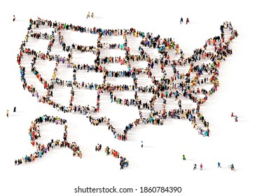 A large and diverse group of people seen from above gathered together in the shape of all the 50 United States of America, 3d illustration