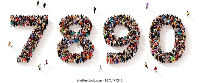 Eine große und vielfältige Gruppe von Menschen, die von oben gesehen wurden, versammelte sich in Form der Zahlen sieben, acht, neun und null, in einer 3D-Abbildung
