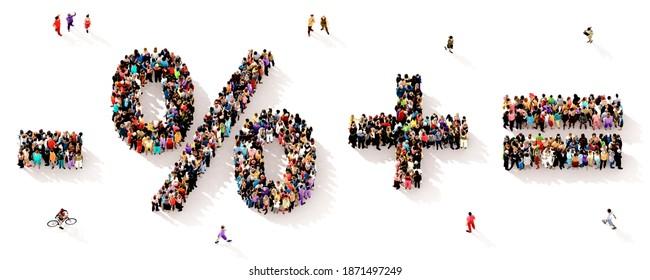 Eine große und vielfältige Gruppe von Menschen, die von oben gesehen wurden, versammelte sich in Form der Symbole minus, Prozent plus und gleich, in einer 3D-Abbildung
