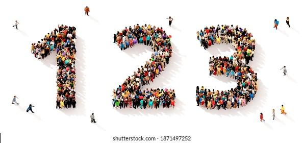 Eine große und vielfältige Gruppe von Menschen, die von oben gesehen wurden, versammelte sich in Form der Zahlen 1, 2 und 3, 3D