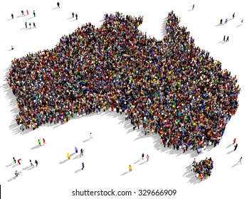 Large and diverse group of people seen from above gathered together in the shape of Australia