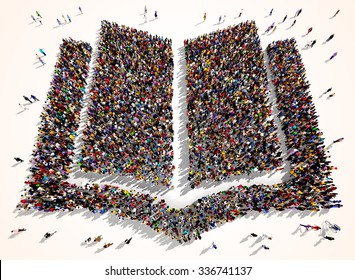 Large and diverse group of people seen from above gathered together is the shape of an open book