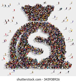 Large and diverse group of people seen from above gathered together in the shape of a money bag symbol
