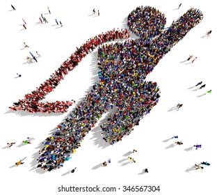 Large and diverse group of people seen from above gathered together in the shape of a flying superhero