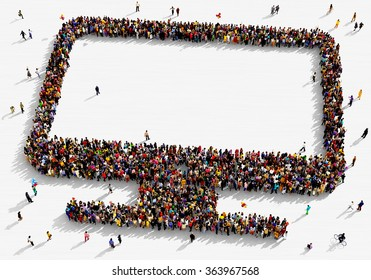 Large and diverse group of people seen from above gathered together in the shape of a monitor