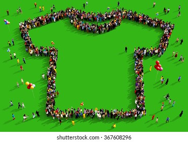 Large and diverse group of people seen from above gathered together in the shape of a t-shirt standing on a green background
