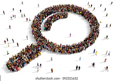 Large and diverse group of people seen from above gathered together in the shape of a magnifying glass icon