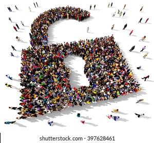 Large and diverse group of people seen from above gathered together in the shape of an unlocked padlock symbol