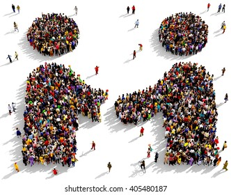 Large and diverse group of people seen from above gathered together in the shape of two friends shaking hands, 3d illustration