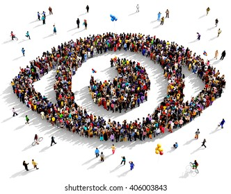 Large and diverse group of people seen from an aerial perspective gathered together in the shape of an eye, 3d illustration