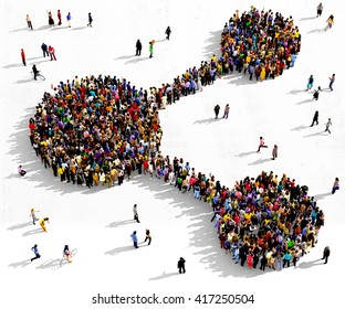 Large and diverse group of people seen from an aerial perspective gathered together in the shape of the share symbol, 3d illustration