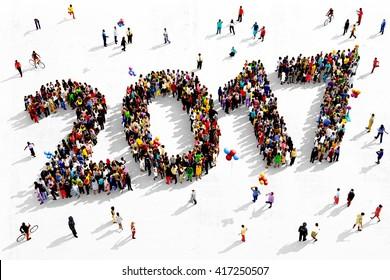 Große und vielfältige Gruppe von Menschen aus der Luft gesehen, zusammengestellt in Form der Nummer 2017, 3D-Abbildung