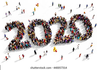 Large and diverse group of people seen from above gathered together in the shape of 2020, 3d illustration