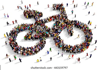 Large and diverse group of people seen from above gathered together in the shape of a bicycle symbol, 3d illustration