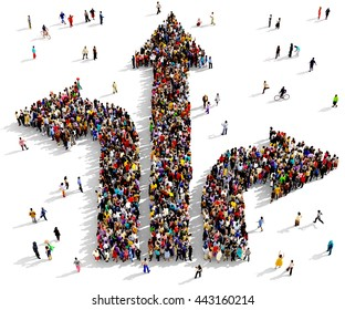 Large and diverse group of people seen from above gathered together in the shape of directional arrows, 3d illustration