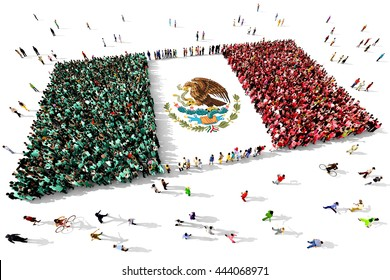 Large and diverse group of people seen from above gathered together in the shape of flag of Mexico, 3d illustration