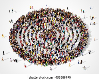 Large and diverse group of people seen from above gathered together in the shape of a concentric inner circles, 3d illustration
