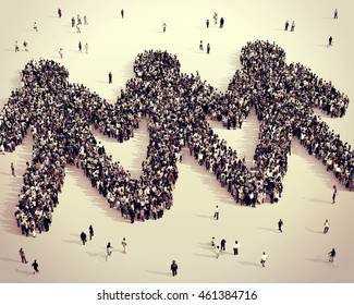 Large and diverse group of people seen from above gathered together in the shape of cut out figures, 3d illustration