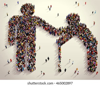 Large and diverse group of people seen from above gathered together in the shape of man  helping elder, 3d illustration