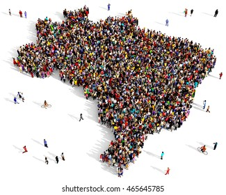 Large and diverse group of people seen from above gathered together in the shape of a Brazil map, 3d illustration