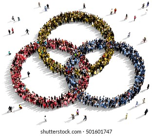 Large and diverse group of people seen from above gathered together in the shape of a three intersecting circles, 3d illustration