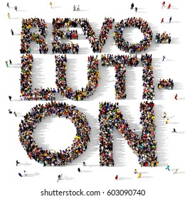 Large and diverse group of people seen from above gathered together to form the text REVOLUTION, 3d illustration