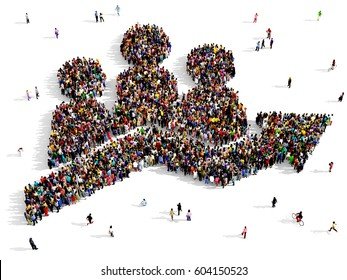 Large and diverse group of people seen from above, gathered together in the shape of a population growth symbol, 3d illustration