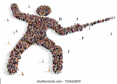 Large and diverse group of people seen from above, gathered together in the shape of a fencer, 3d illustration