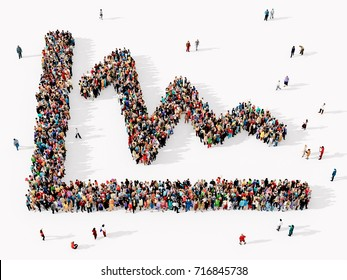 Large and diverse group of people seen from above, gathered together in the shape of a downward graph symbol, 3d illustration