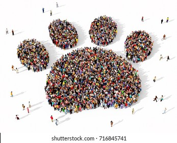 Large and diverse group of people seen from above, gathered together in the shape of an animal paw print, 3d illustration