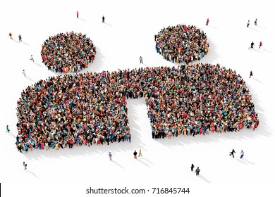 Large and diverse group of people seen from above, gathered together in the shape of two friends symbol, 3d illustration