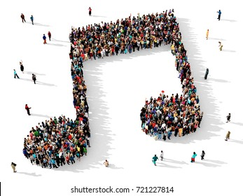 Large and diverse group of people seen from above, gathered together in the shape of a  musical note, 3d illustration