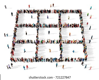 Large and diverse group of people seen from above, gathered together to form a grid, 3d illustration