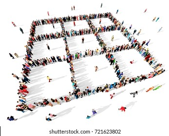 Large and diverse group of people seen from above, gathered together to form a geometric pattern, 3d illustration