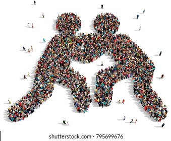 Large and diverse group of people seen from above, gathered together in the shape of two silhouettes wrestling, 3d illustration