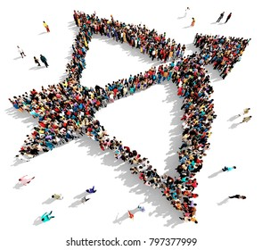 Large and diverse group of people seen from above, gathered together in the shape of a bow and arrow, standing on a white background, 3d illustration