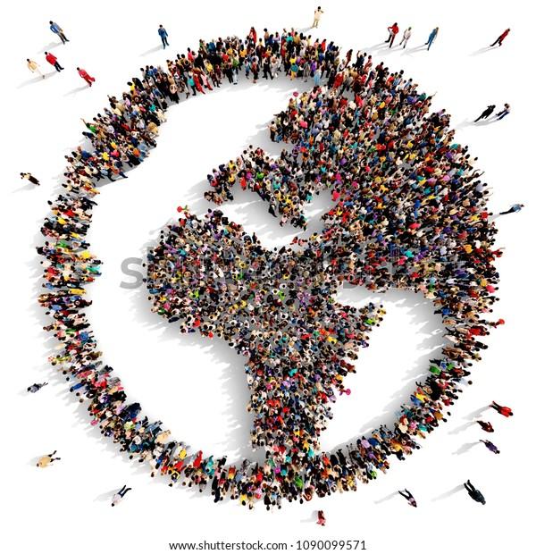 上から見た大きく多様な人々のグループがヨーロッパとアフリカ