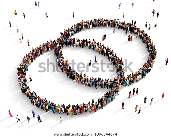 Large and diverse group of people seen from above gathered together in the shape of two intersecting circles, 3d illustration