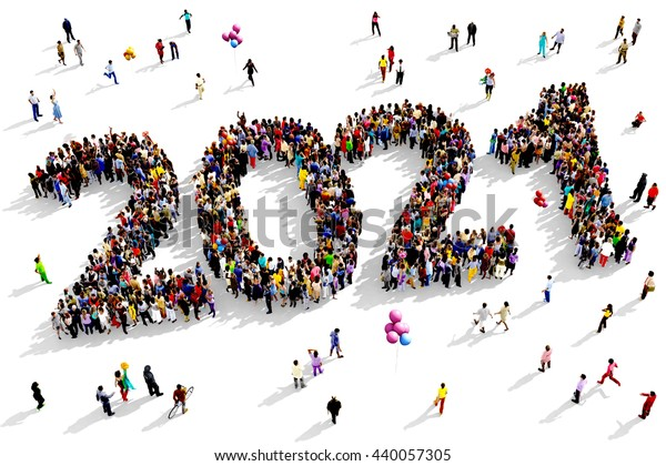 Illustration de stock de Un groupe de personnes vaste et 440057305
