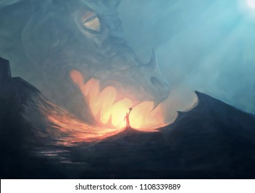 A large dragon approaches a man with fire coming out of his mouth