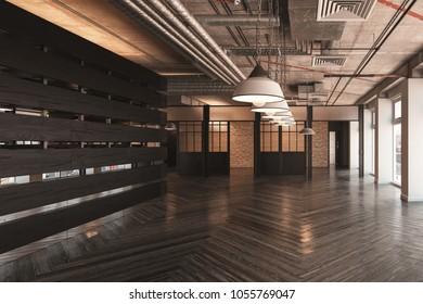 Large empty showroom or commercial space with a row of ceiling lights and patterned floor with wooden divider wall. 3d render