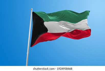 Large flag of Kuwait  waving in the wind on flagpole against the sky with clouds on sunny day. 3d illustration