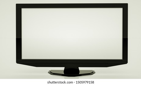 large flat black tv set on a white background. 3d render illustration