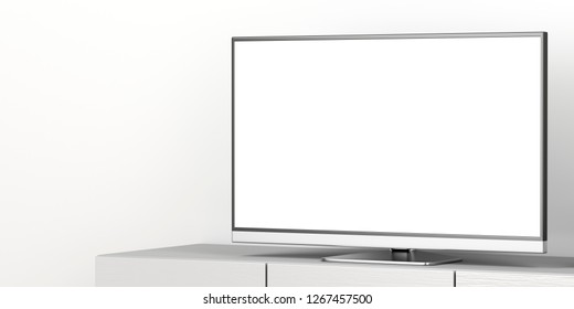 Large flat screen tv with blank screen on tv stand, close up. 3D illustration
