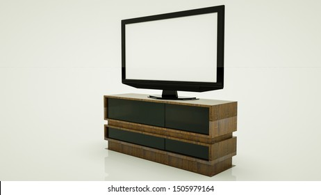 large flat tv on a wooden nightstand. 3d render illustration