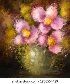 Large floral painting, cute pink flowers print, printable wall art, digital file download, oil style artwork