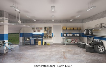 Large garage with workspace and car components, 3d illustration